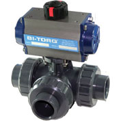 "BI-TORQ 1-1/4"" 3-Way L-Port PVC Ball Valve W/Spring Ret. Pneum. Actuator"