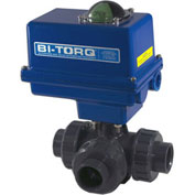 "BI-TORQ 1-1/4"" 3-Way T-Port PVC Ball Valve W/ NEMA 4 115VAC/4-20mA Positioner"