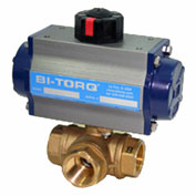 "BI-TORQ 1-1/4"" 3-Way L-Port Brass NPT Ball Valve W/NEMA 4 115VAC/4-20mA Positioner"