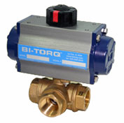 "BI-TORQ 1-1/4"" 3-Way T-Port Brass NPT Ball Valve W/Spring Ret. Pneum. Actuator"