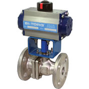 "BI-TORQ 4"" SS Split Body ANSI 150# Flanged Ball Valve W/Dbl. Acting Pneum. Actuator"