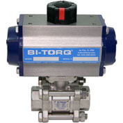 "BI-TORQ 4"" 3-Pc SS NPT Ball Valve W/Dbl. Acting Pneum. Actuator"