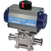 "BI-TORQ 4"" 3-Pc SS Sanitary Clamp End Ball Valve W/Spring Ret. Pneum. Actuator"