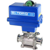"BI-TORQ 4"" 3-Pc SS Sanitary Clamp End Ball Valve W/NEMA 4 115VAC/4-20mA Positioner"