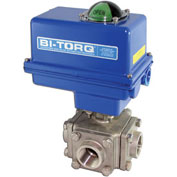 "BI-TORQ 1-1/4"" 3-Way L-Port SS NPT Threaded Ball Valve W/NEMA 4 115VAC"
