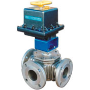 "BI-TORQ 1/2"" 3-Way L-Port SS 150# Flanged Ball Valve W/NEMA 4 115VAC/4-20mA Positioner"