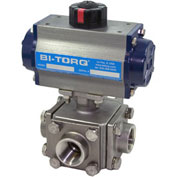 "BI-TORQ 1"" 3-Way T-Port SS NPT Threaded Ball Valve W/Spring Ret. Pneum. Actuator"