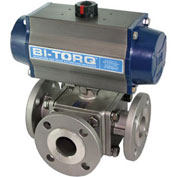 "BI-TORQ 4"" 3-Way T-Port SS 150# Flanged Ball Valve W/Spring Ret. Pneum. Actuator"