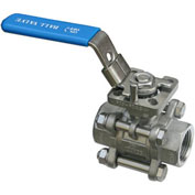"1-1/4"" 3-Pc SS NPT Ball Valve With Manual Locking Handle"