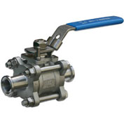 """4"""" 3-Pc SS Sanitary Clamp End Ball Valve With Manual Locking Handle"""
