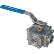 "1"" 3-Way L-Port SS NPT Threaded Ball Valve With Lockable Lever Handle"