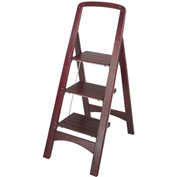 Cosco Three Step Rockford Wood Step Stool 225 lb. Cap. Mahogany - 11255MGY1