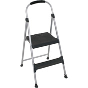Cosco Signature Step Stool Two-Step Aluminum W/ Plastic Steps 225 lb. Cap - Gray/Black - 11311ABL1E