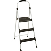 Cosco Signature Step Stool Three-Step Aluminum W/ Plastic Steps 225 lb. Cap Gray/Black - 11411ABL1E
