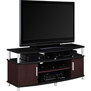 Carson TV Stand Cherry and Black Finish