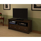 Two Drawer with Brushed Nickel Knobs TV Stand in Resort Cherry Finish