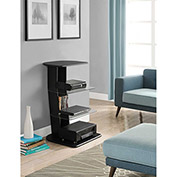 Galaxy Audio Pier with Glass Shelves Black Finish