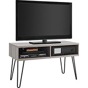 "Owen Retro TV Stand for TVs up to 42"" Sonoma Oak Finish with Gunmetal Gray Metal Legs"