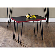 Owen Retro Stool Black and Red Finish with Black Metal Legs