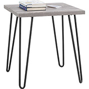 Owen Retro End Table Sonoma Oak Finish with Gunmetal Gray Metal Legs