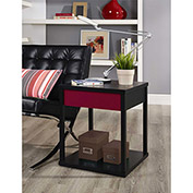 Parsons End Table Black Finish with Red Drawer Front