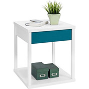 Parsons End Table White Finish with Teal Drawer Front
