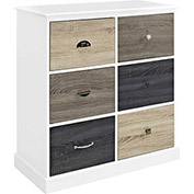 Mercer 6-Door Storage Cabinet with Multicolored Door Fronts White Finish