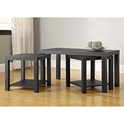 Ameriwood Coffee Table and End Table 3-pc. Set Black Finish