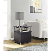 Carson End Table with Storage Espresso Finish