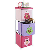 Ameriwood kids' 3-Bin Storage Unit Pink with Flower Theme