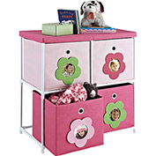 Ameriwood kids' 4-Bin Storage Unit Pink with Flower Theme