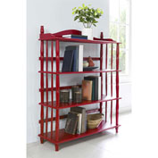 Ameriwood Daysha 4-Shelf Spindle Leg Bookcase Red Finish