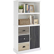 Ameriwood Mercer Storage Bookcase with Multicolored Door & Drawers White Finish