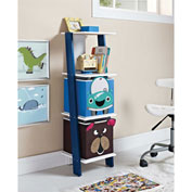 Ameriwood Ladder Bookcase with 2 Bins White/Blue Finish