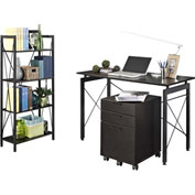 Ameriwood 3-Piece Home Office Collection Espresso and Black Finish