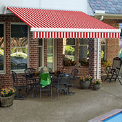 """Awntech MM14-28-RW, Retractable Awning Manual 14'W x 10'D x 10""""H Red/White"""
