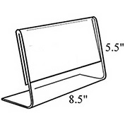 "Azar Displays 112704 Horizontal Slanted L-Shaped Acrylic Sign Holder, 8.5"" x 5.5"" , 10-Pack"