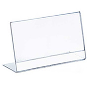 "Azar Displays 112737, Horiz L Shaped Acrylic Sign HLR, 4""W x 3""H, 10-Pack"