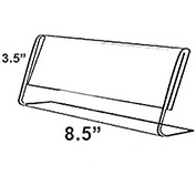 "Azar Displays 112761 Horizontal Slanted L-Shaped Acrylic Sign Holder, 8.5"" x 3.5"" , 10-Pack"