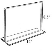 "Azar Displays 152707 Horizontal Double Sided Stand Up Sign Holder, 14"" x 8.5"", Acrylic , 10-Pack"
