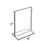 """Azar Displays 152729 Vertical Double Sided Stand Up Sign Holder, 4"""" x 5"""", Acrylic , 10-Pack"""