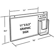 "Azar Displays 252052, Wall Mount Acrylic Sign HLR W/Trifold Brochure Pockets, 16""W x 11""H, 1-Pack"