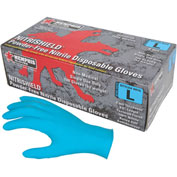 MCR Safety 6015L NitriShield Nitrile Gloves, Industrial/Food Grade, Textured, Powder Free, Large
