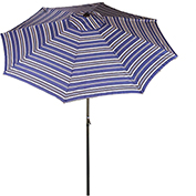 Bliss 9' Market Polyester Outdoor Umbrella, Crank & Tilt, Blue Stripe