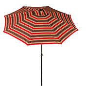 Bliss 9' Market Polyester Outdoor Umbrella, Crank & Tilt, Red Stripe