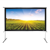 "HamiltonBuhl Freestanding Projector Screen with Case - 110"" Diagonal - Folding Frame - HDTV Format"