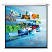 "HamiltonBuhl Electric Projector Screen - 119"" Diagonal - Square Format - White Frame"