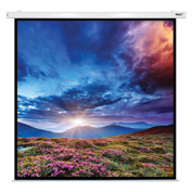 "HamiltonBuhl Electric Projector Screen - 135"" Diagonal - Square Format - White Frame"