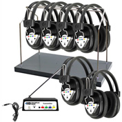 HamiltonBuhl Wireless 6 Person Listening Center w/ Transmitter, Wireless Headphones & Rack