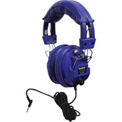 "Kids Blue Deluxe Stereo/Mono Headphone w/ 1/8"" Plug & 1/4"" Adapter & Vol Control"